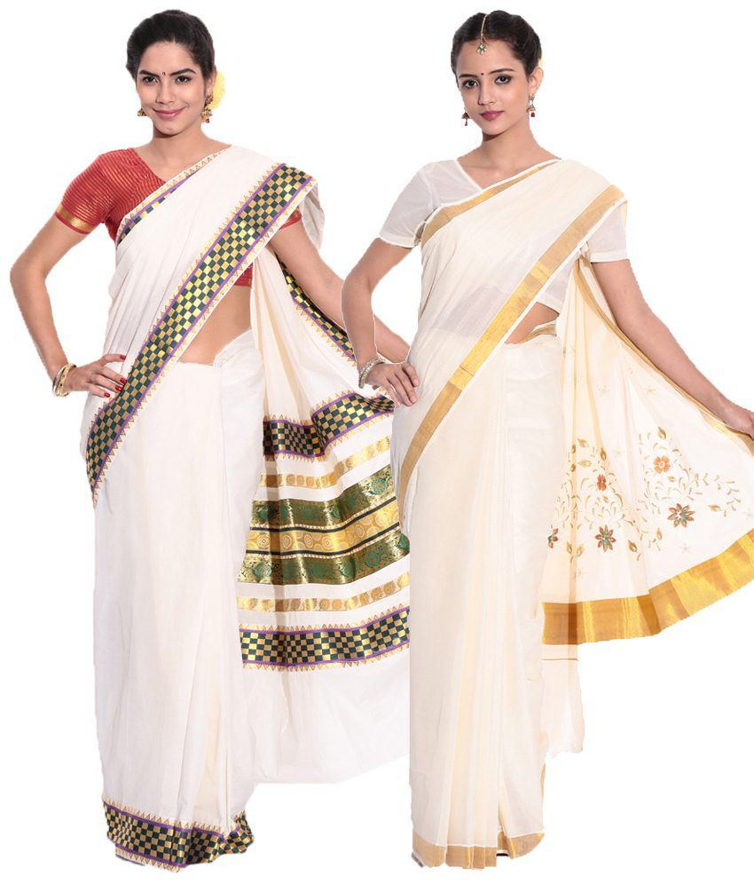 Fashion Kiosks Pack of 2 Cream Kerala Kasavu Cotton Sarees with Matching Blouse Pieces