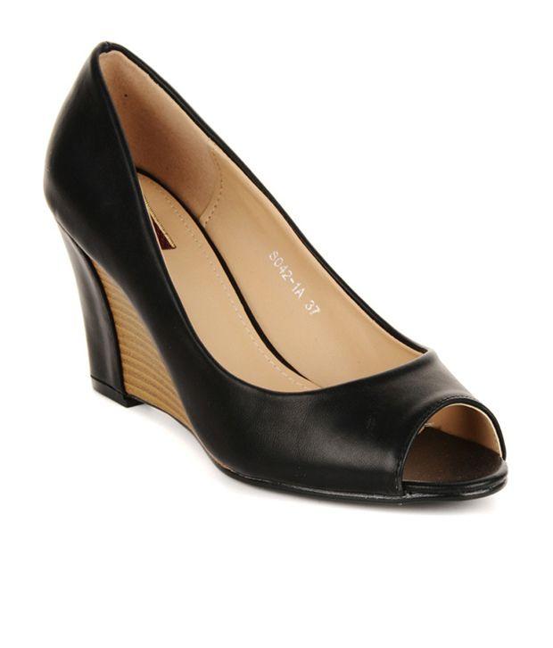 Flat n Heels Black Heeled Slip On