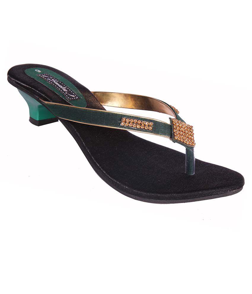 Smalto Green Heeled Slip-Ons