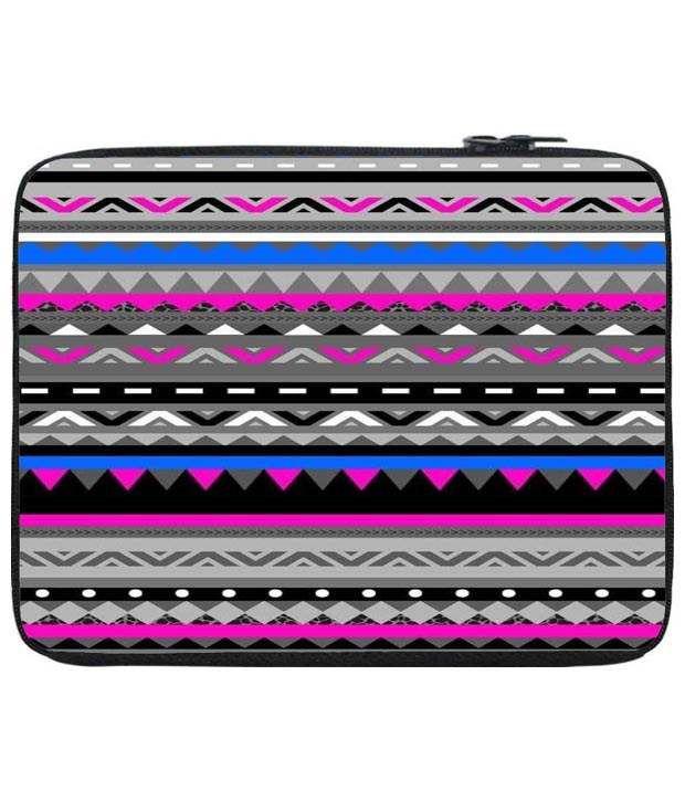 Snoog Pink & Blue Aztec Digital Laptop Sleeve 12 to 12.6 Inch