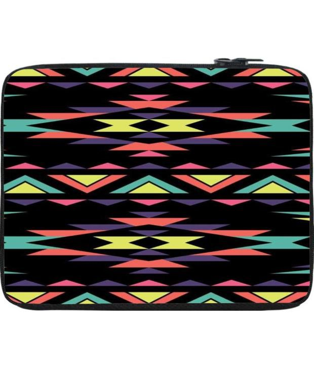 Snoogg Black and Yellow Laptop Sleeve