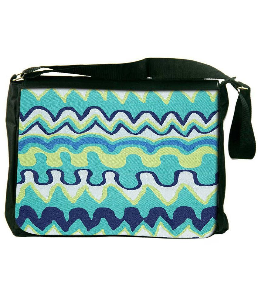 Snoogg Green and Blue Laptop Messenger Bag Green and Blue Messenger Bag
