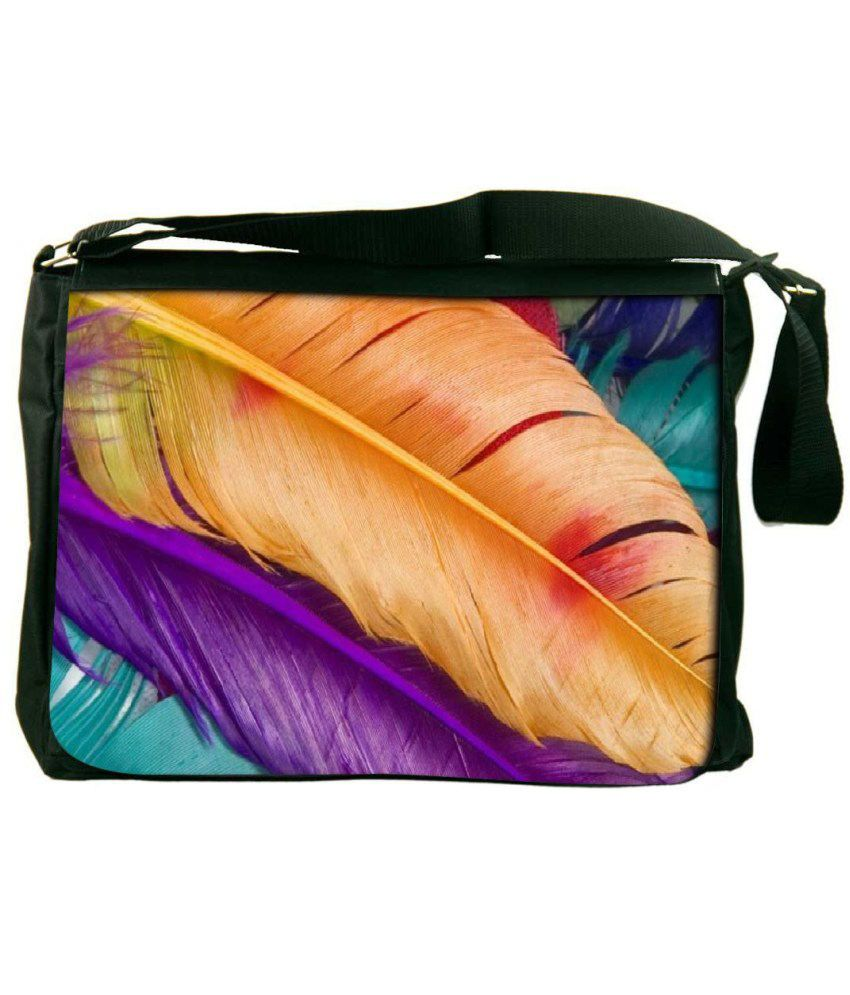 Snoogg Orange and Purple Laptop Messenger Bag Orange and Purple Messenger Bag