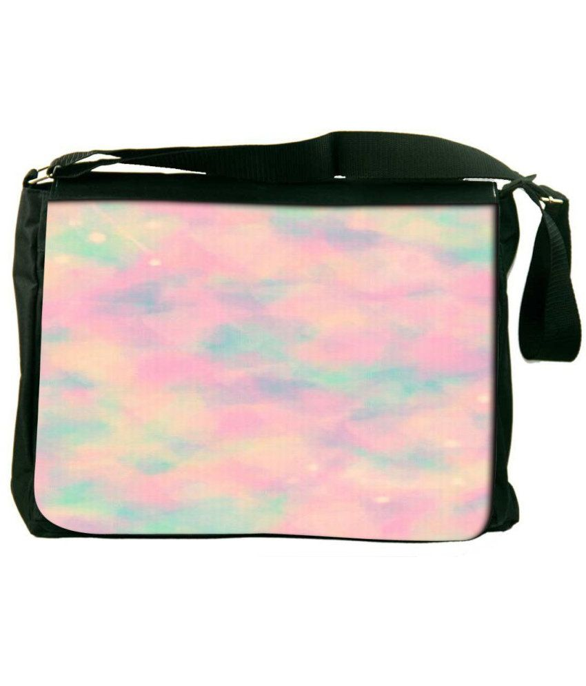 Snoogg Pink and Green Laptop Messenger Bag Pink and Green Messenger Bag