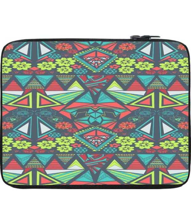 Snoogg Red and Green Laptop Sleeve