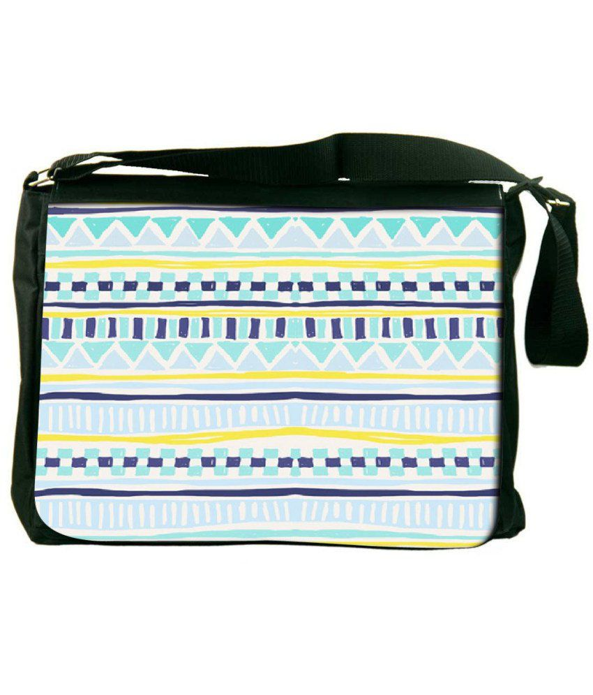 Snoogg Yellow and Blue Laptop Messenger Bag Yellow and Blue Messenger Bag