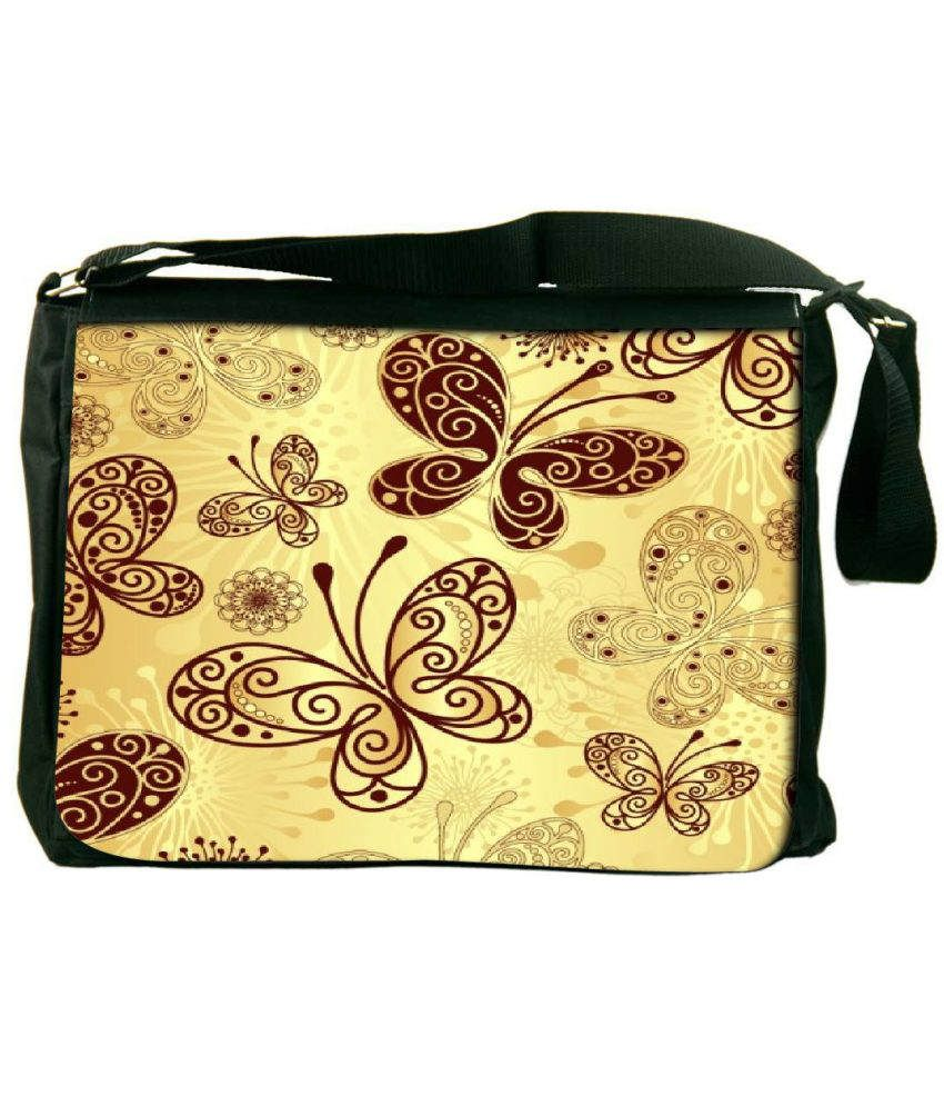 Snoogg Yellow and Brown Laptop Messenger Bag Yellow and Brown Messenger Bag