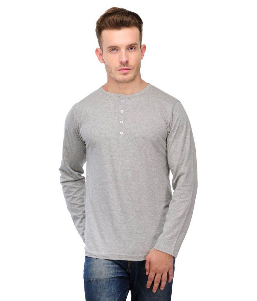 Ansh Fashion Wear Gray Cotton Henley T-shirt
