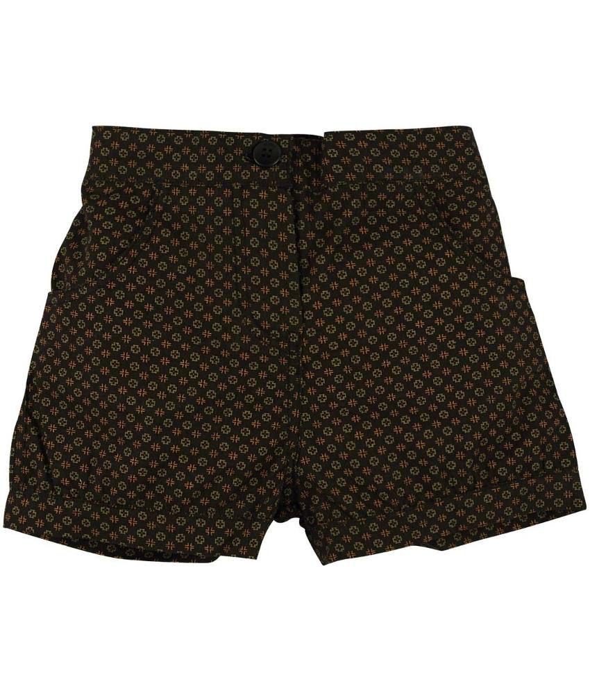 Oye Black & Green Cotton Shorts for Girls