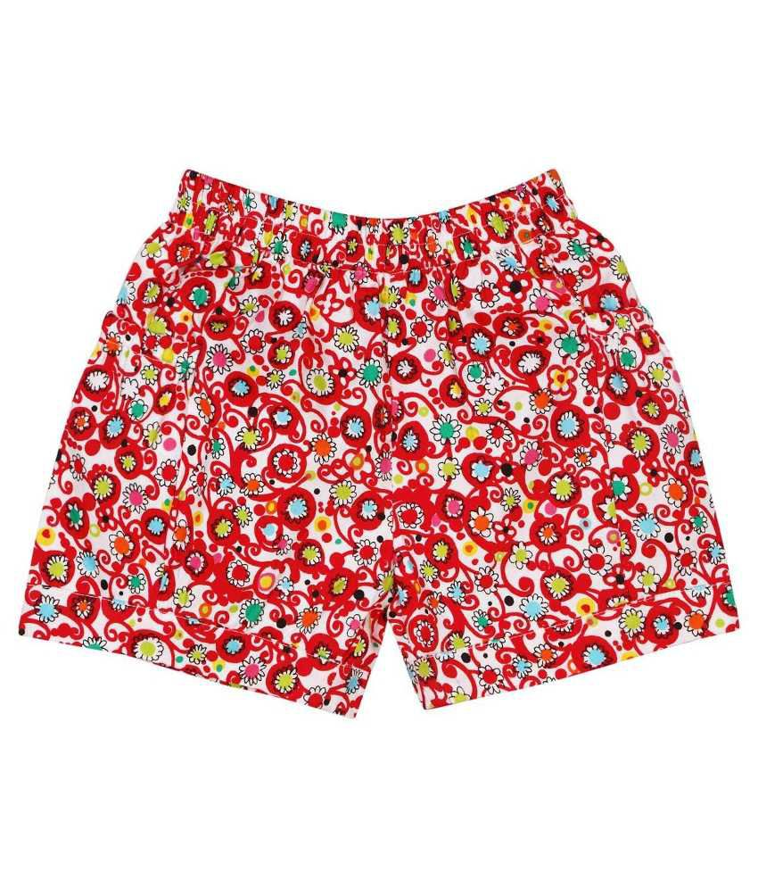 Oye Fantastic Red & White Cotton Shorts for Girls