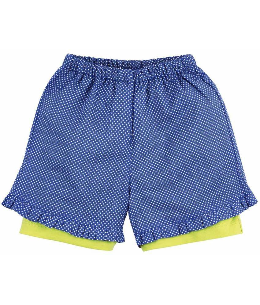 Oye Fashionable Blue & White Cotton Shorts for Girls