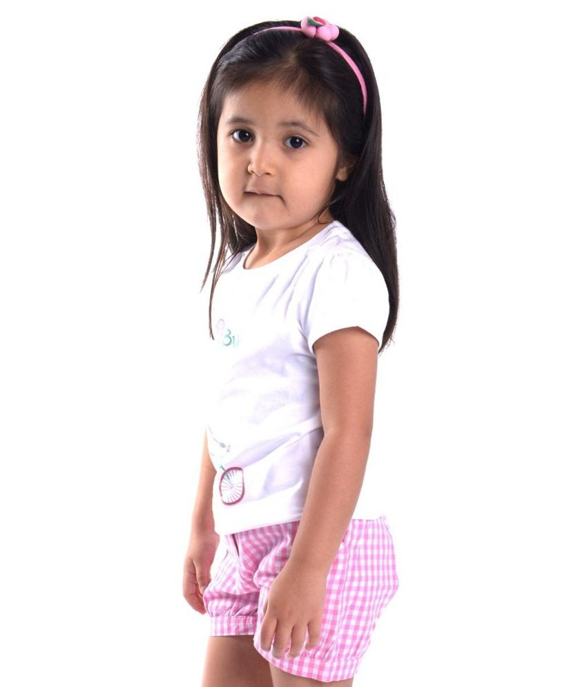 Oye Pink & White Cotton Shorts for Girls