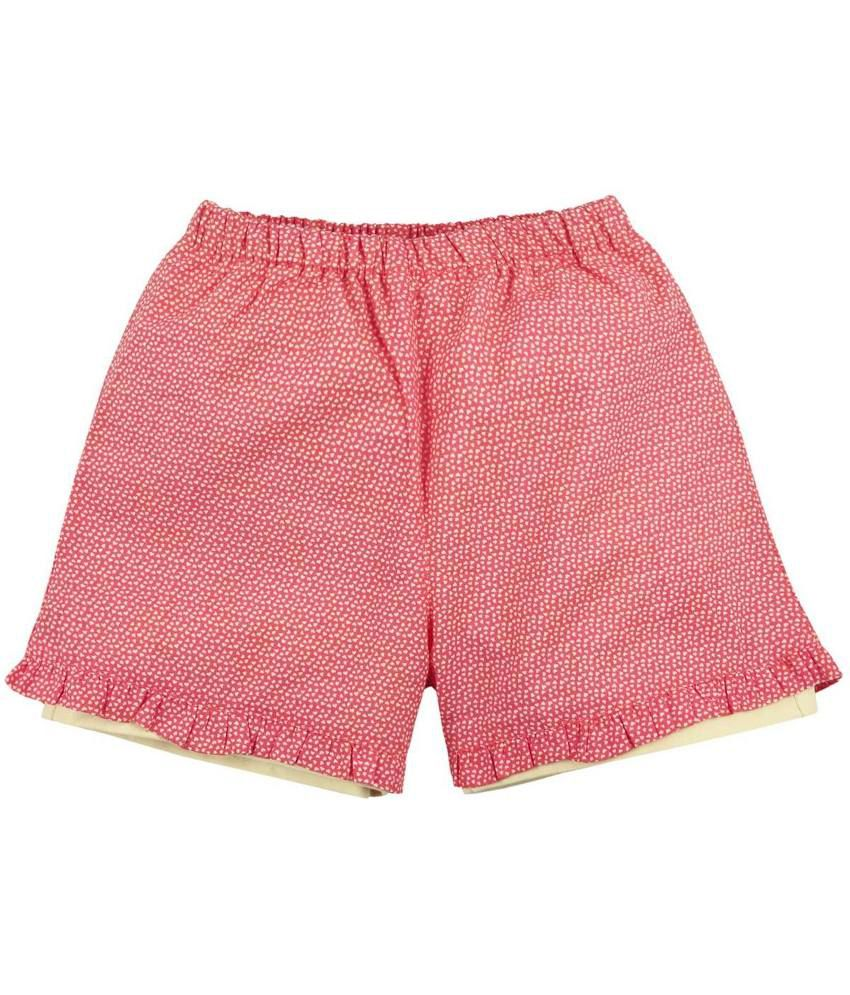 Oye Red & Beige Cotton Shorts for Girls