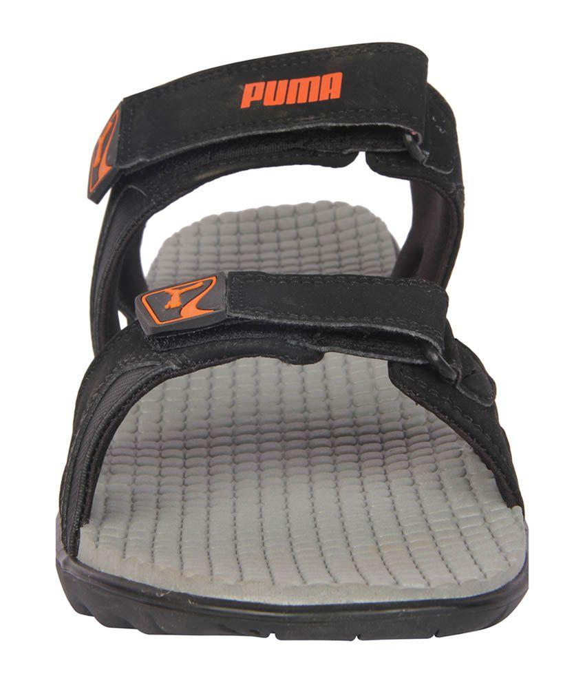 Puma black velcro sandals -  Puma Black Velcro Synthetic Leather Daily Wear Eva Sandals