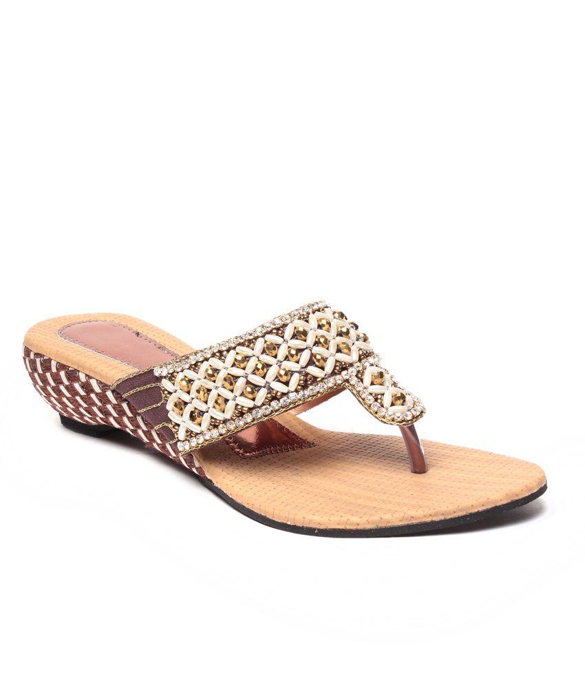 Dezire Brown Slip-Ons & Sandals