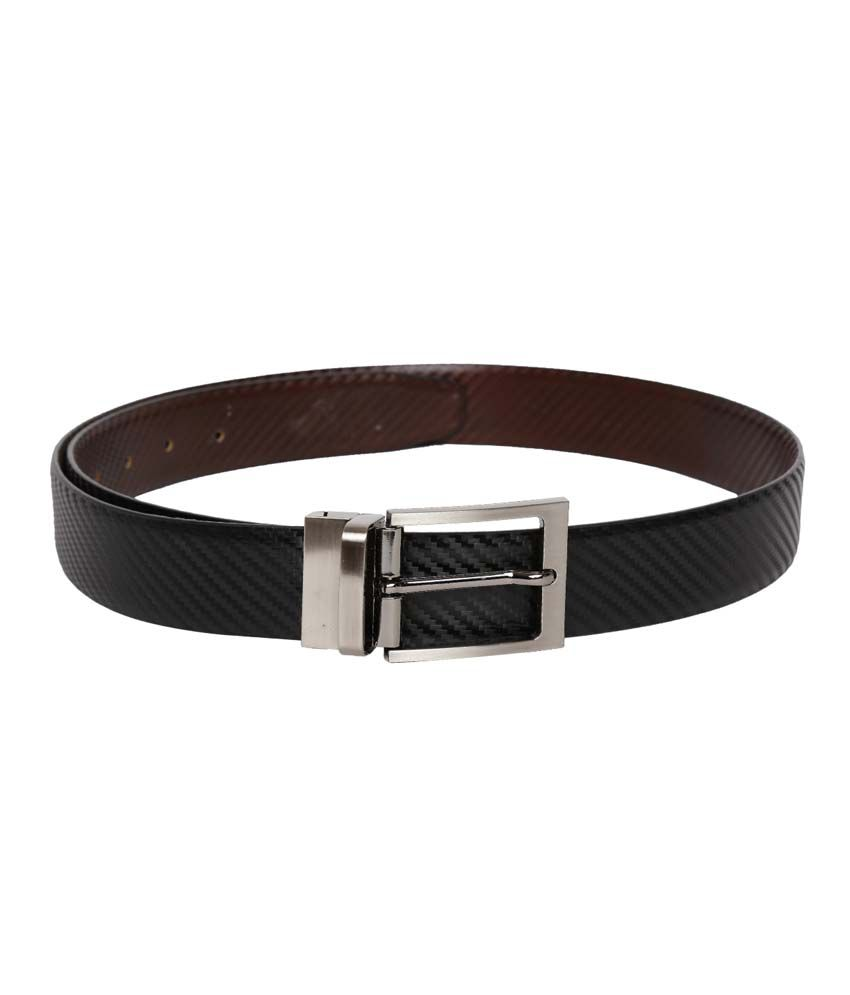 Tasset Black/Brown Leather Pin Buckle Reversible Formal Belt For Men