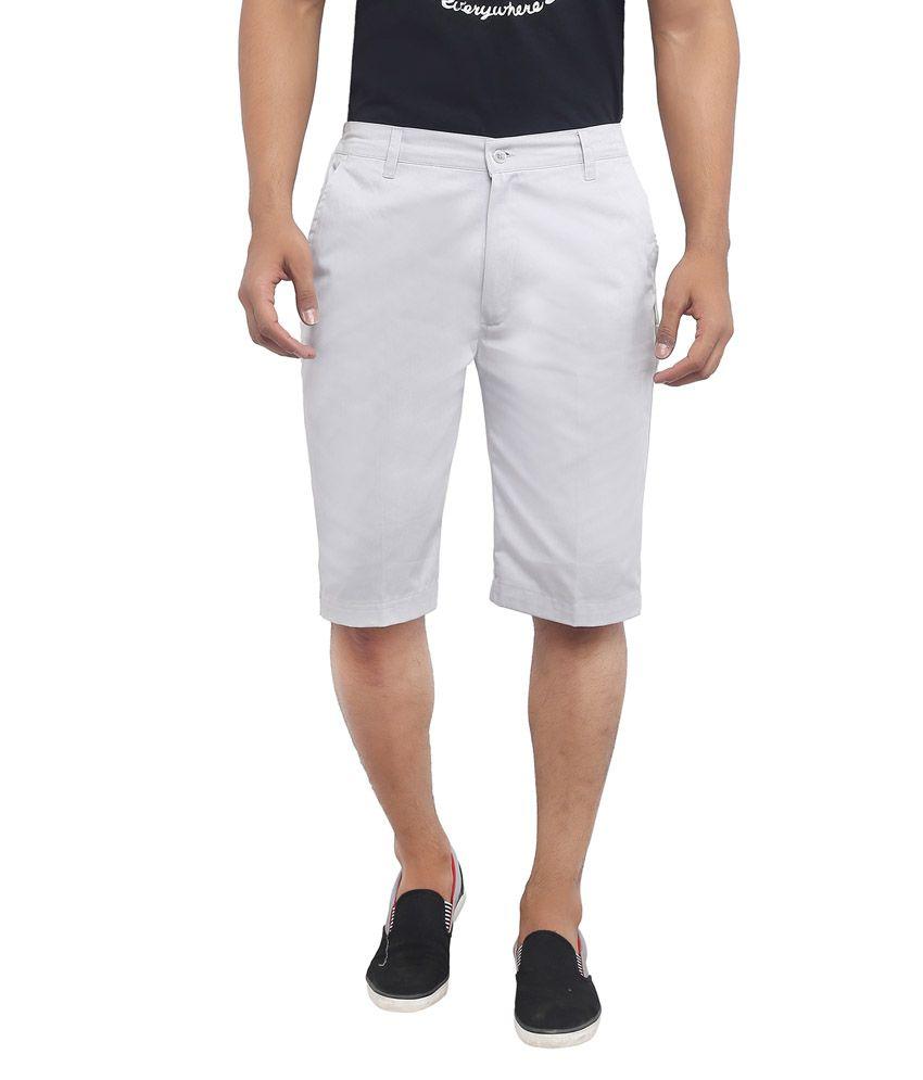 Ashdan Gray Cotton Blend Shorts