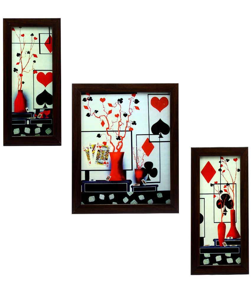 Indianara Matte Wooden Frame 3 Piece Set Of Framed Wall Hanging