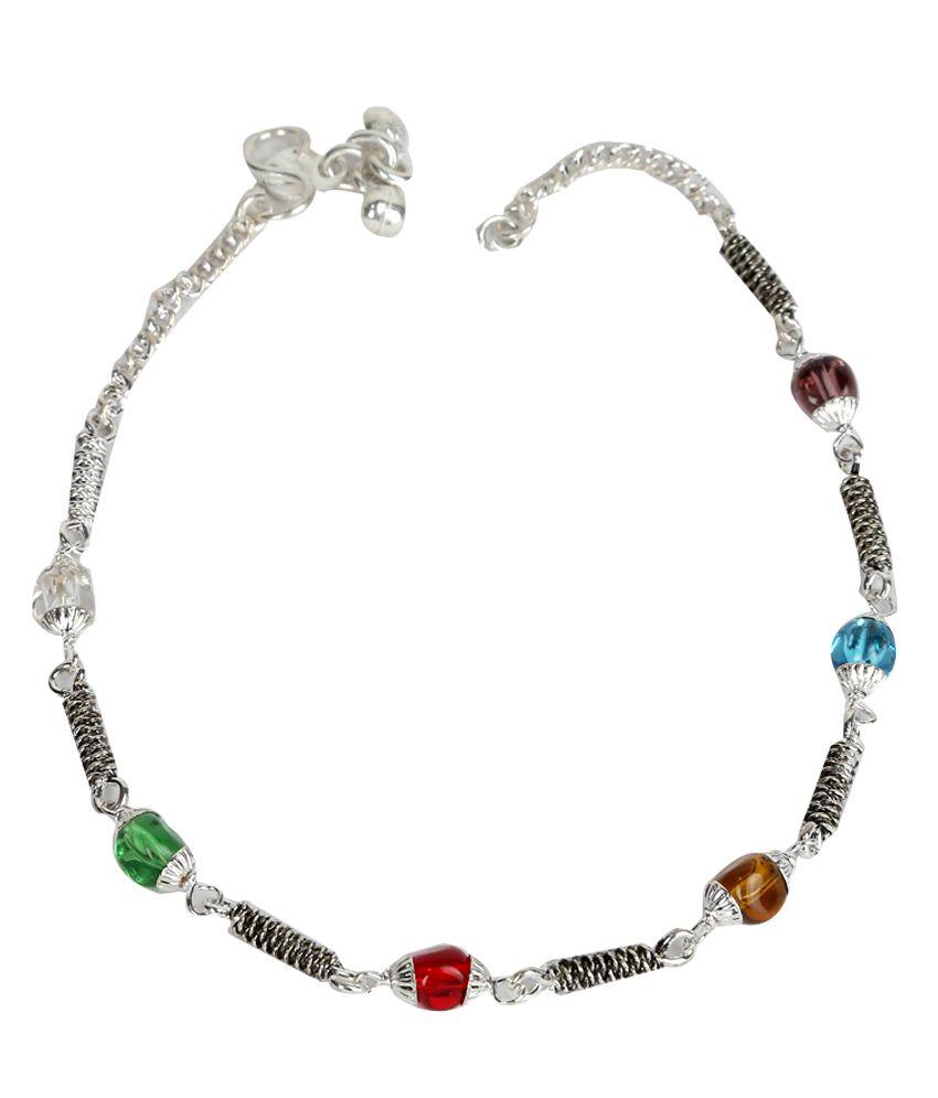 Taj Jewels German Silver Pair Of Anklets
