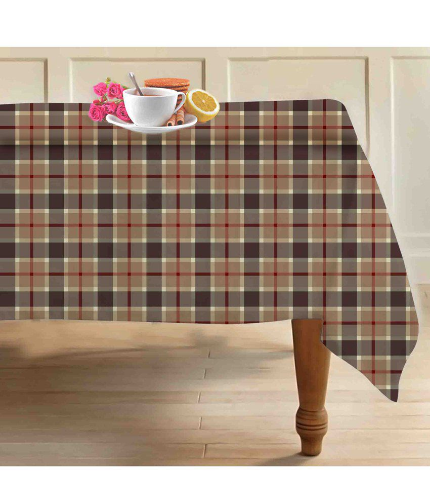 Airwill brown gray checkered 4 seater dining table cloth for 10 seater table cloth