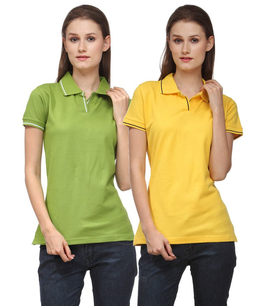 Scott International Combo of Green and Yellow Cotton Blend Polo T-shirts (Set of 2)