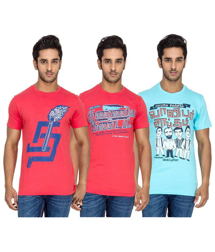 Tee Kadai Printed Cotton Round Neck T-Shirt - Pack of 3