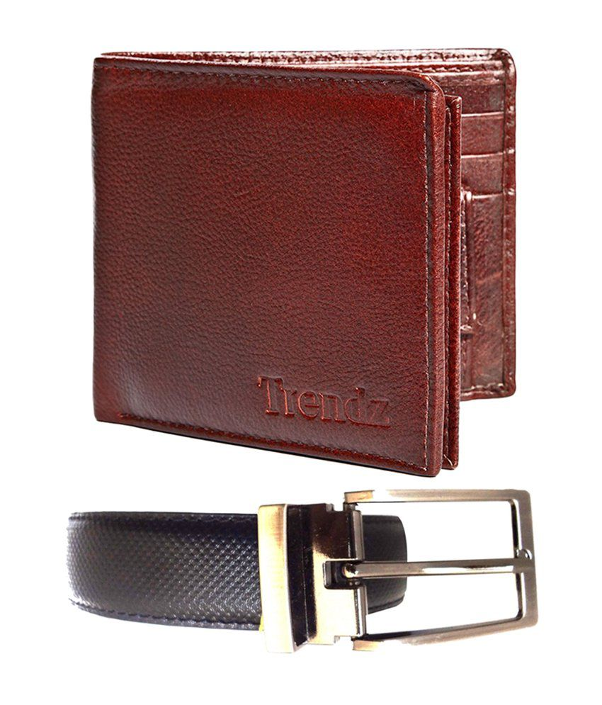 Trendz Reversible Black Formal Belt & Brown Leather Wallet (Pack of 2)