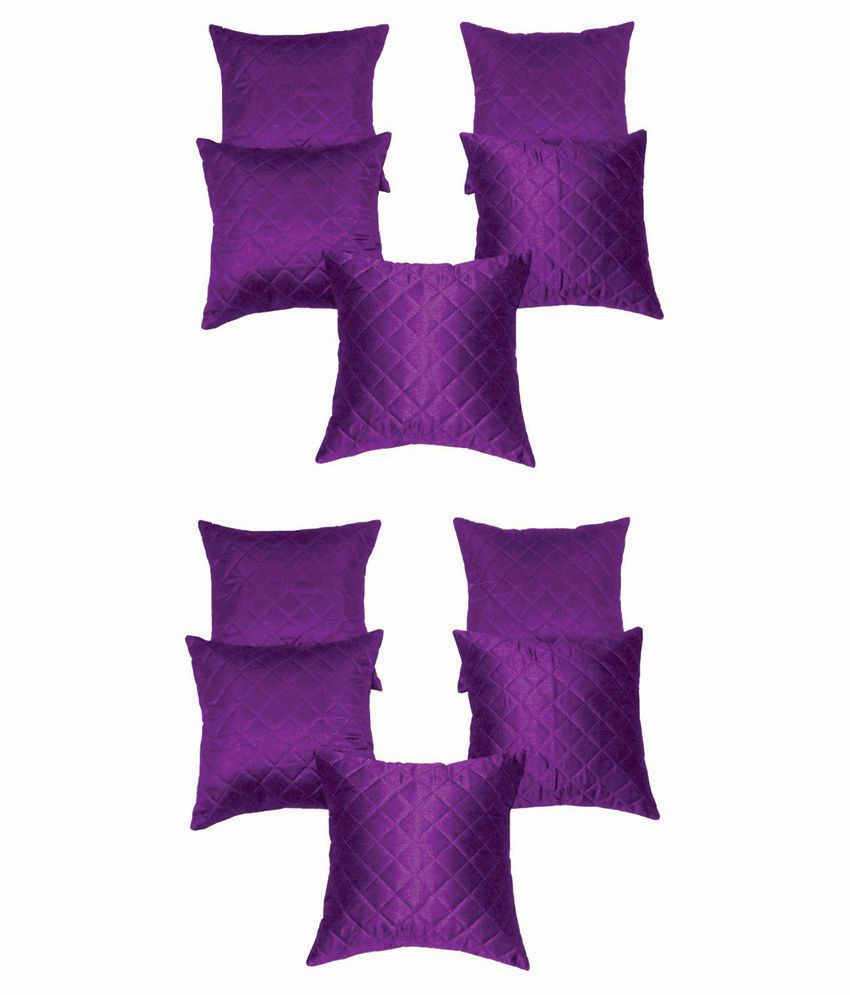 Xarans Box Quilted Purple Cushion Cover Set of 10
