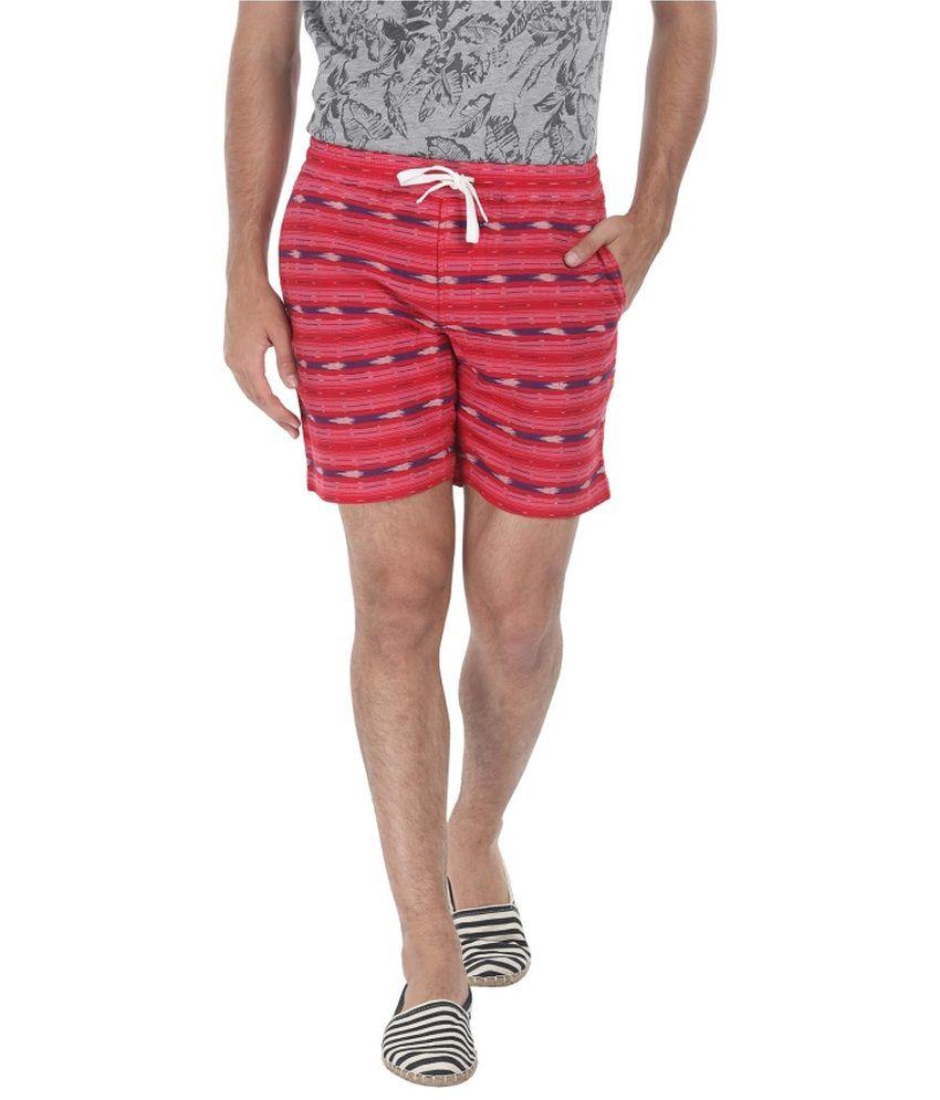 Zobello Maroon Cotton Shorts