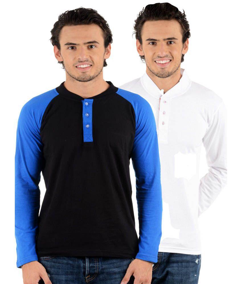 Big Idea Multicolour Cotton Blend Full T-Shirt For Men Pack Of 2