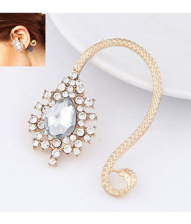 Cinderella Fashion Jewelry  Golden & Silver Crystal Ear Cuff for Wo