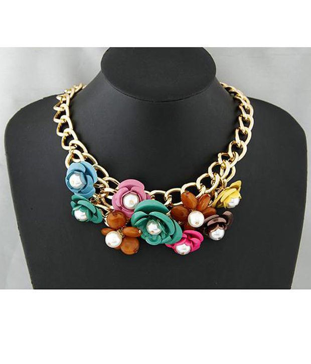 Cinderella Fashion Jewelry  Multicoloured Alloy Stone Necklace