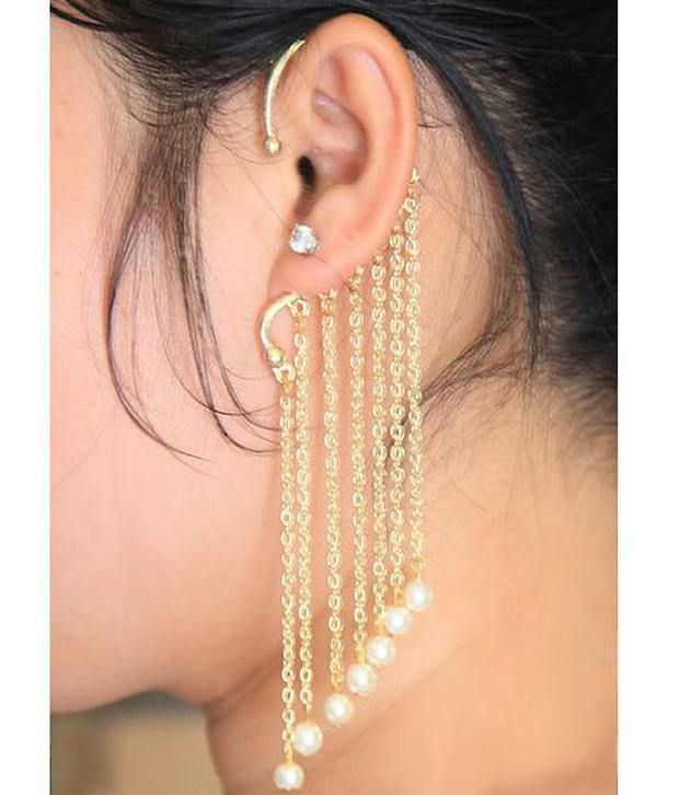 ShinningDiva White & Golden Pearl Single Ear Cuff