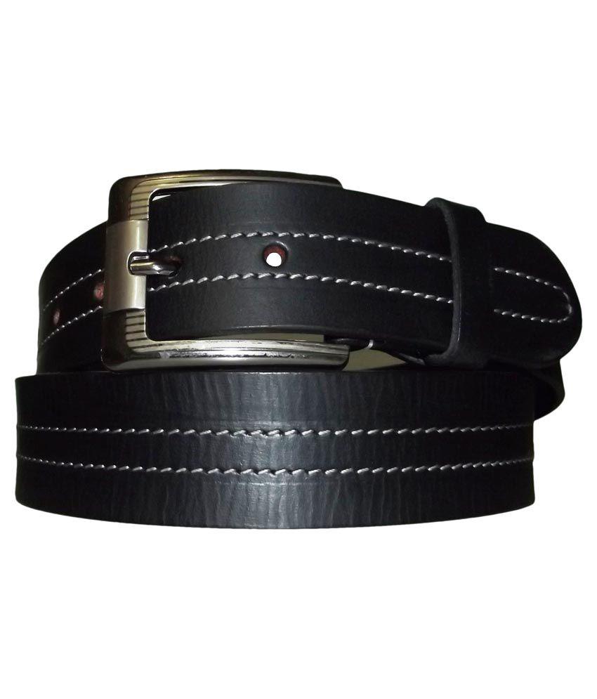 Crazee Wear Black Leather Pin Buckle Casual Belt for Men