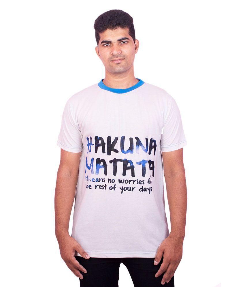 Dkclues White Cotton T- Shirt For Men