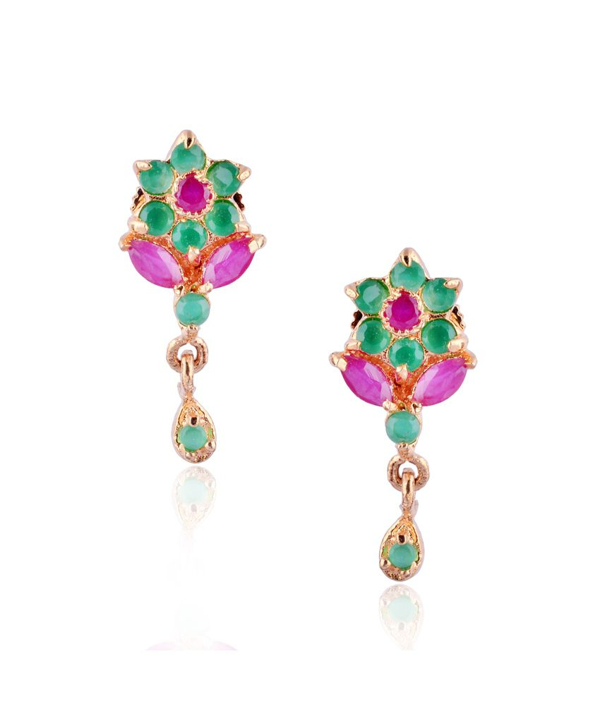 Glitz And You Green Floral Alloy Drop Earrings