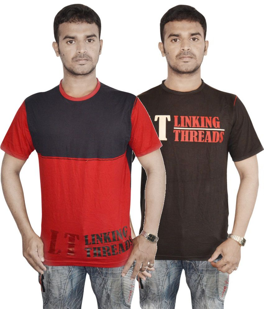 Linking Threads Orange and Brown Cotton T-shirts (Combo of 2)