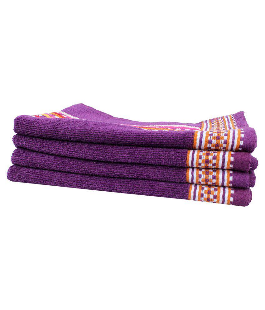 Mandhania Purple & Yellow Cotton Hand Towel Pack Of 4