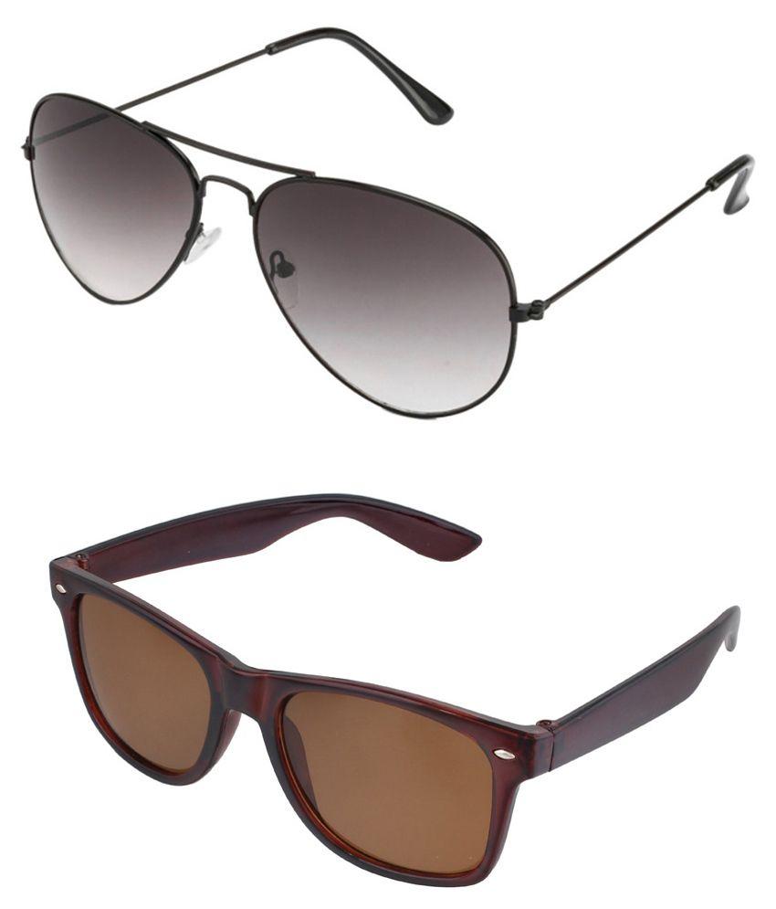 Prime Club Half-Black Aviator & Brown Wayfarer Sunglasses- Pack Of 2