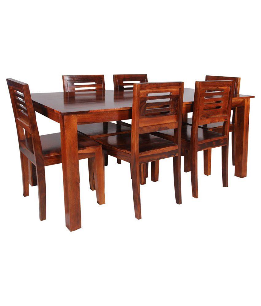Sheesham Wood 6 Seater Dining Set In Dark Honey Finish