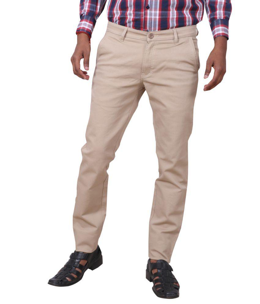 IndiWeaves Khaki Cotton Formal Trouser