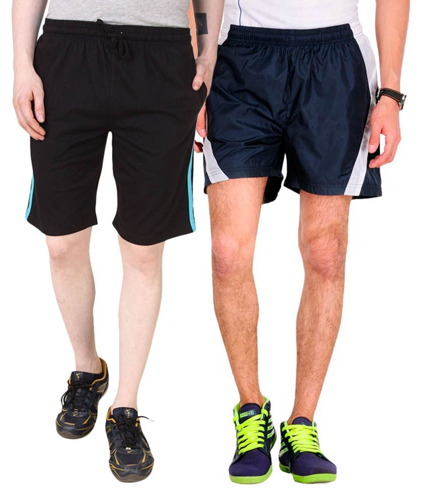 Jeevan Sports Wear Black & Blue Polyester Solid Shorts (Pack of 2)