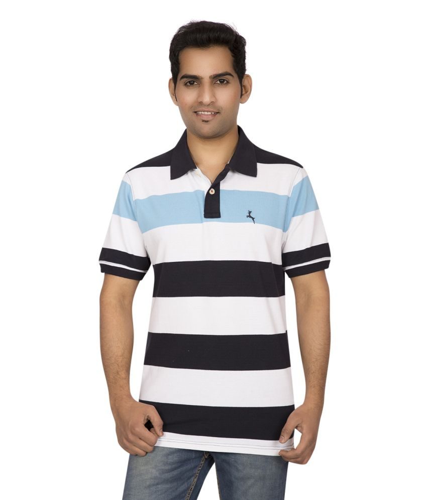 Red line combo of 2 black and blue cotton polo t shirt for Red and blue t shirt