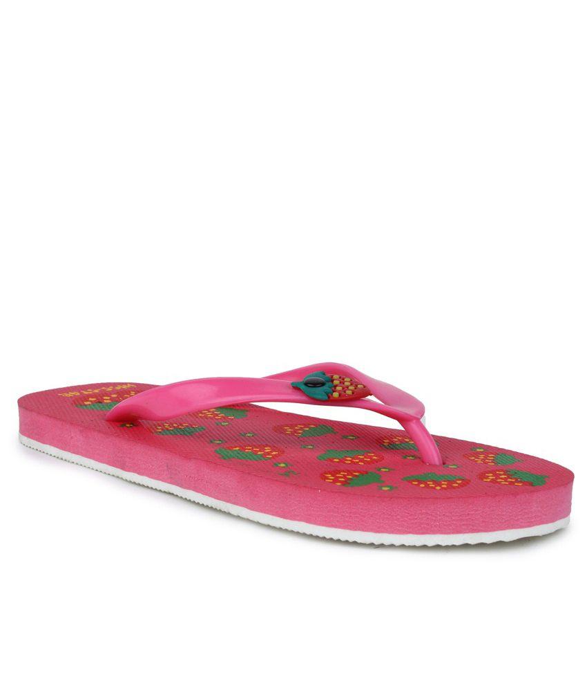11E Pink & Green PVC Flip Flops