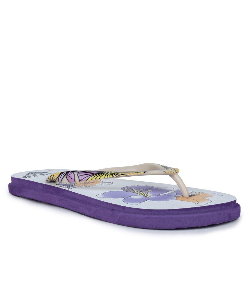 11E Purple & White PVC Flip Flops