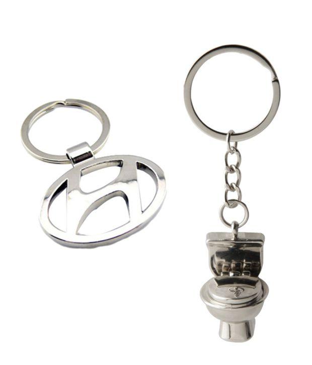 Alexus Combo of Hyundai and Commode Metal Key Rings (Pack of 2)