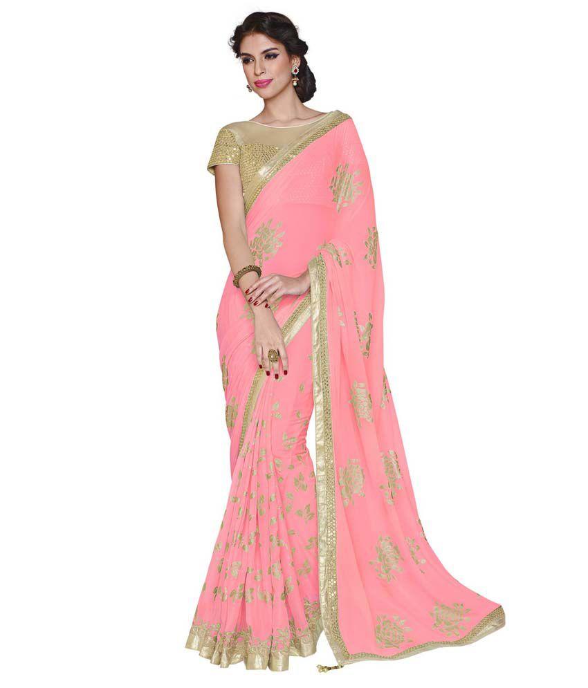 ef56490843 Moh Manthan Designer Party Wear Saree Pink Faux Chiffon Saree - Buy Moh  Manthan Designer Party Wear Saree Pink Faux Chiffon Saree Online at Low  Price ...