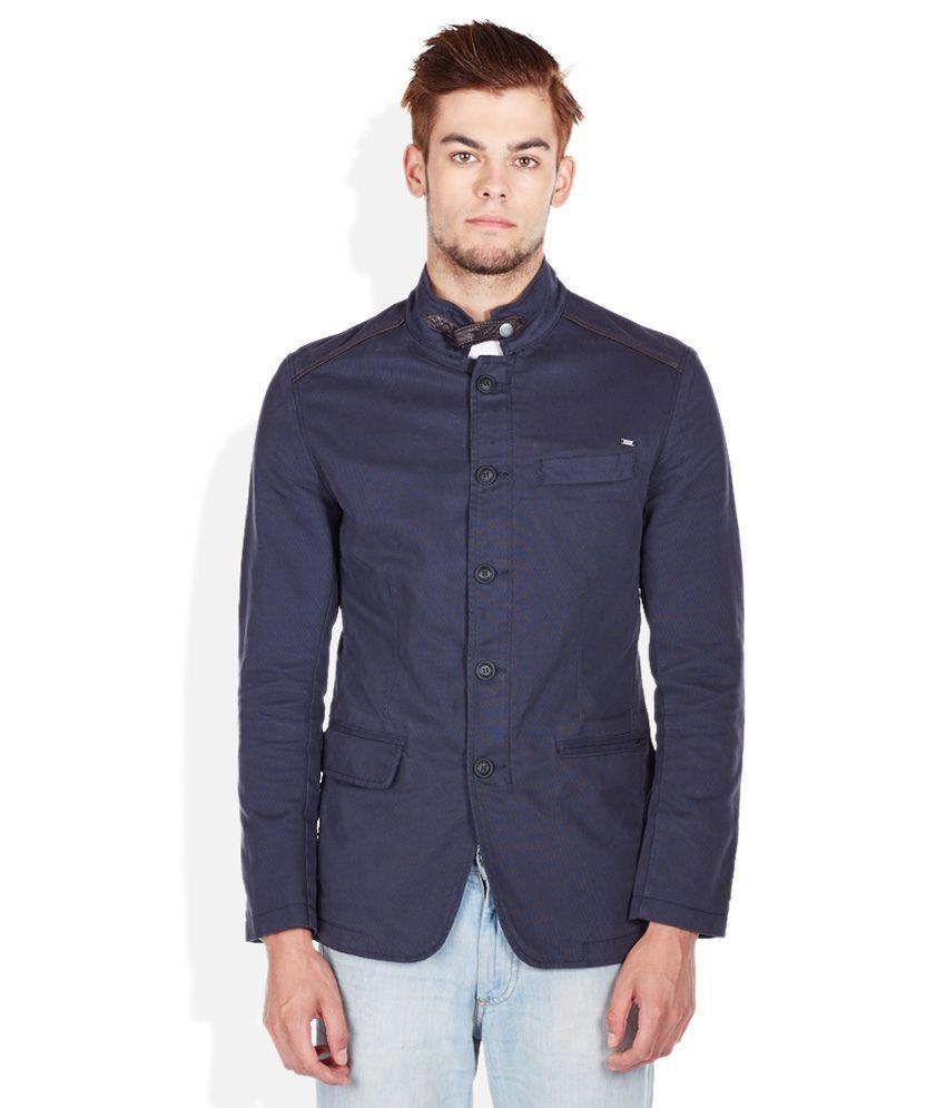 Mufti Navy Mandarin Slim Fit Blazer