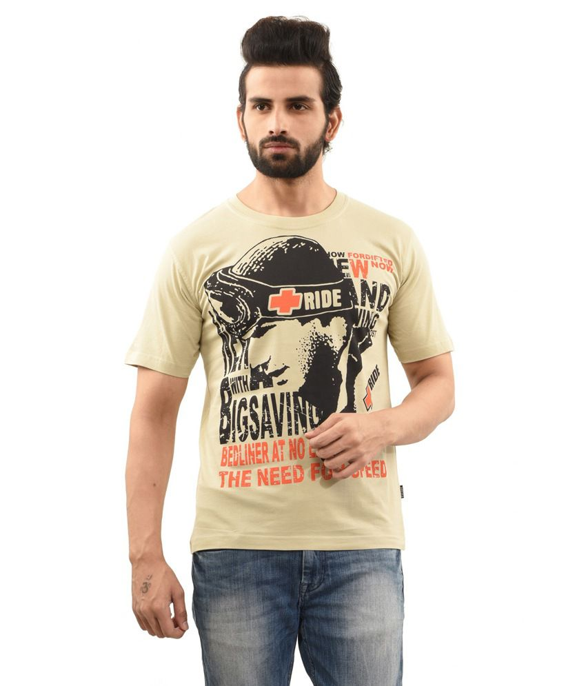 TSG Escape Beige Cotton Round Neck Half Sleeve Printed T-Shirt
