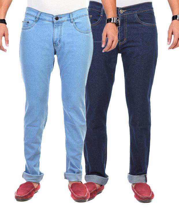 Ave Blue Cotton Regular Fit Jeans Pack Of 2